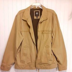 Timberland jacket tan/khaki size large hundred percent cotton